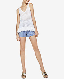 BCBGeneration Cotton Open-Stitch Sweater Tank Top
