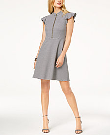 Zoe by Rachel Zoe Houndstooth-Print Fit & Flare Dress, Created For Macy's