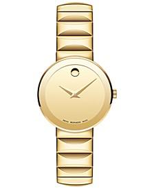 Women's Swiss Sapphire Gold-Tone PVD Stainless Steel Bracelet Watch 28mm