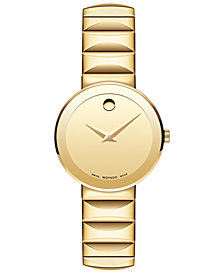 Movado Women's Swiss Sapphire Gold-Tone PVD Stainless Steel Bracelet Watch 28mm