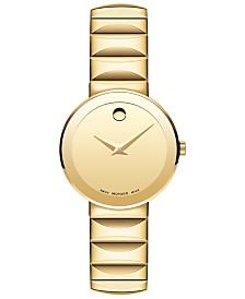 Movado Women's Swiss Sapphire Gold-Tone PVD Stainless Steel Bracelet Watch 28mm