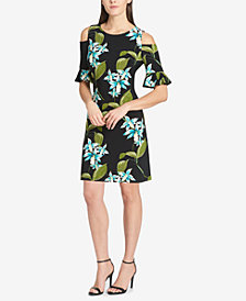 Tommy Hilfiger Floral Cold-Shoulder Jersey Dress