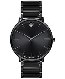Men's Swiss Ultra Slim Black PVD Stainless Steel Bracelet Watch 40mm