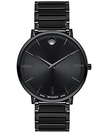 Movado Men's Swiss Ultra Slim Black PVD Stainless Steel Bracelet Watch 40mm
