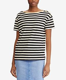 Lauren Ralph Lauren Striped Button-Shoulder T-Shirt