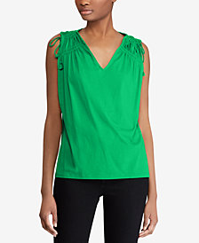 Lauren Ralph Lauren Shirred-Shoulder Cotton Tank Top