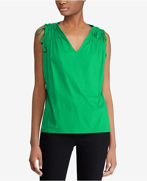 a48e0dc1d1e74 Lauren Ralph Lauren Shirred-Shoulder Cotton Tank Top   Reviews ...