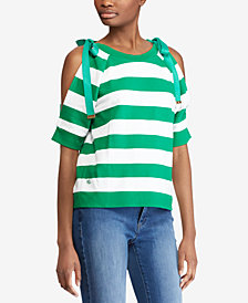Lauren Ralph Lauren Striped French Terry Cold-Shoulder Top