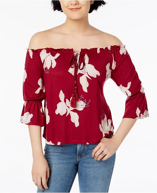 c74e48b93b8960 Lucky Brand Floral-Print Off-The-Shoulder Top   Reviews - Tops ...