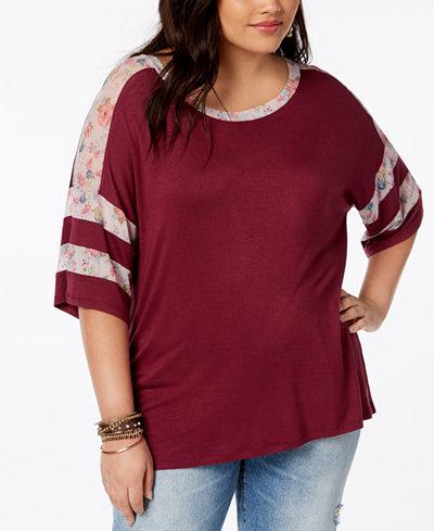 Eyeshadow Trendy Plus Size Mesh-Trim T-Shirt