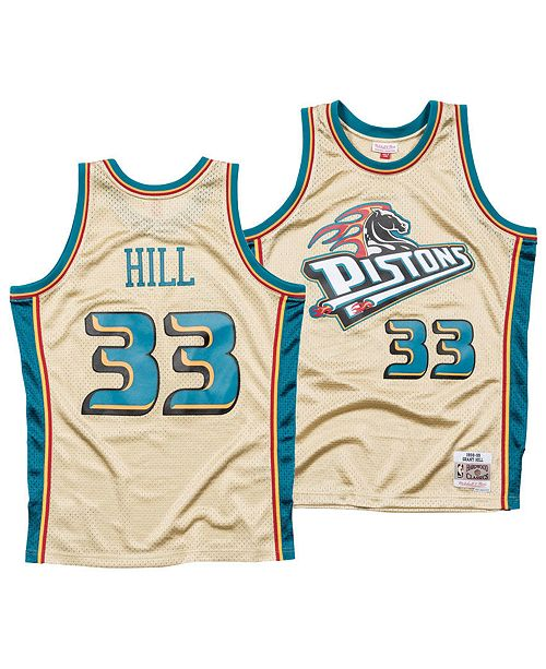 ... Mitchell   Ness Men s Grant Hill Detroit Pistons Gold Collection Swingman  Jersey ... 788da1635