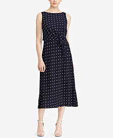 Lauren Ralph Lauren Polka-Dot Crepe Midi Dress