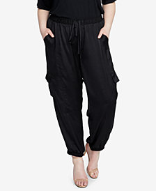 RACHEL Rachel Roy Trendy Plus Size Satin Cargo Pants