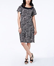 NY Collection Petite Flutter-Sleeve A-Line Dress