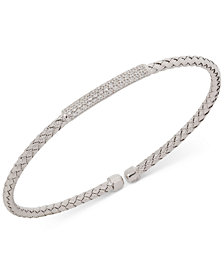 Giani Bernini Bar CZ Weave Bangle Stack Bracelet in Sterling Silver, 18K Gold-Plated or Rose Gold-Plated Sterling Silver, Created for Macy's