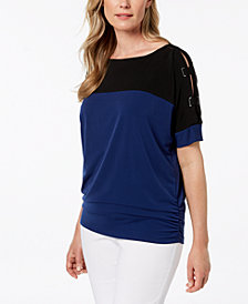 JM Collection Petite Colorblocked Split-Sleeve Top, Created for Macy's