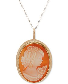 """Cornelian Shell Cameo 18"""" Pendant Necklace in 14k Gold"""
