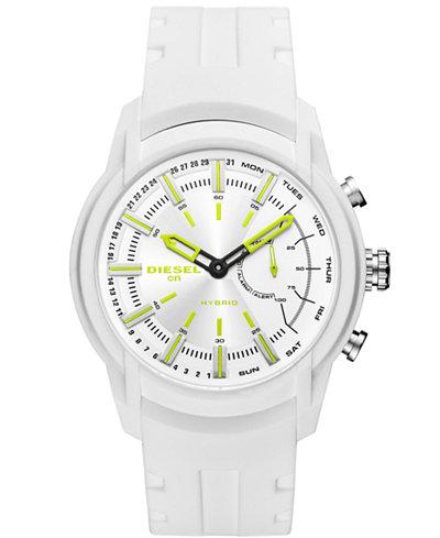 Diesel ON Men's Armbar White Silicone Strap Hybrid Smart Watch 44mm