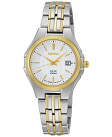 Seiko Watch, Women's Solar Two Tone Stainless Steel Bracelet 28mm SUT038