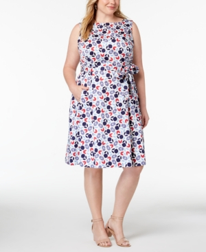 459590096dc Anne Klein Plus Size Printed Fit   Flare Dress In White Eton Blue Combo