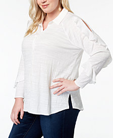 One A Plus Size Ruffled Cold-Shoulder Shirt