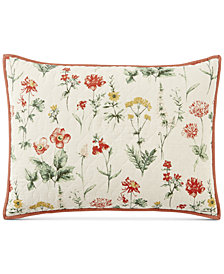 Martha Stewart Collection Washed Floral 100% Cotton Standard Sham, Created for Macy's