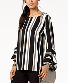Alfani Striped Ruffled-Sleeve Top, Created for Macy's