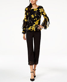 Alfani Spiral-Sleeve Top & Cropped Pants, Created for Macy's