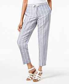 Anne Klein Striped Drawstring Pants