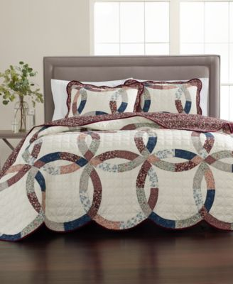 Wedding Ring 100% Cotton Reversible Twin Quilt, Created for Macy's