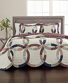 Martha Stewart Collection Wedding Ring 100% Cotton Reversible Twin Quilt, Created for Macy's