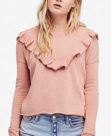 Free People Ooh La Cotton Ruffled Sweatshirt
