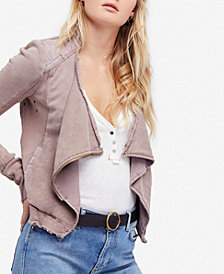 Free People Cotton Shrunken Moto Jacket