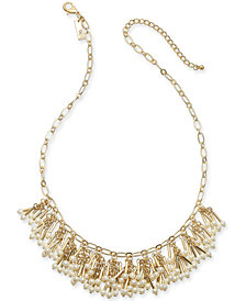 "I.N.C. Gold-Tone Imitation Pearl Shaky Statement Necklace, 18"" + 3"" extender, Created for Macy's"