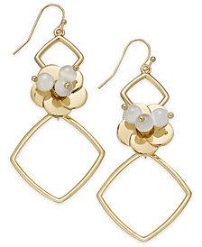 I.N.C. Gold-Tone Flower Geo Drop Earrings, Created for Macy's