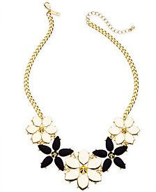 "I.N.C. Gold-Tone Stone Flower Statement Necklace, 19"" + 3"" extender, Created for Macy's"