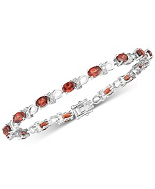 Garnet (6 ct. t.w.) & Diamond Accent Link Bracelet in Sterling Silver (Also available Peridot)