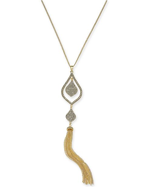 """INC International Concepts I.N.C. Gold-Tone Crystal & Chain Tassel Pendant Necklace, 28"""" + 3"""" extender, Created for Macy's"""