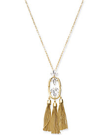 "I.N.C. Gold-Tone Crystal & Chain Tassels Pendant Necklace, 30"" + 3"" extender, Created for Macy's"