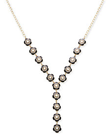 "I.N.C. Gold-Tone Stone Pavé Flower Lariat Necklace, 24"" + 3"" extender, Created for Macy's"
