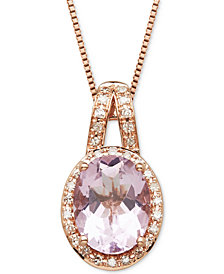 "Pink Amethyst (1-5/8 ct. t.w.) & Diamond (1/10 ct. t.w.) 18"" Pendant Necklace in 14k Rose Gold"