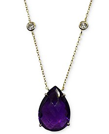 """Amethyst (11 ct. t.w.) & White Topaz (5/8 ct. t.w.) Pendant Necklace in 14k Gold-Plated Sterling Silver, 16"""" + 2"""" extender"""