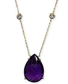 "Amethyst (11 ct. t.w.) & White Topaz (5/8 ct. t.w.) Pendant Necklace in 14k Gold-Plated Sterling Silver, 16"" + 2"" extender"