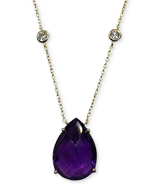 """Macy's Amethyst (11 ct. t.w.) & White Topaz (5/8 ct. t.w.) Pendant Necklace in 14k Gold-Plated Sterling Silver, 16"""" + 2"""" extender"""