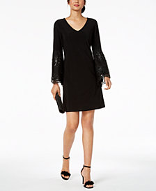 MSK Sequined-Lace Bell-Sleeve Shift Dress