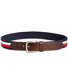 Tommy Hilfiger Men's Stretch Embroidered Webbing Belt