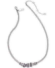 "I.N.C. Silver-Tone Pavé Rondelle Bead Triple-Chain Collar Necklace, 16"" + 3"" extender, Created for Macy's"
