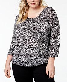 MICHAEL Michael Kors Plus Size Leopard-Print Peasant Top