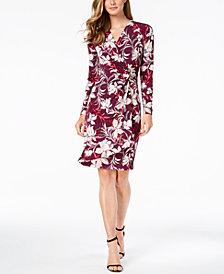 Calvin Klein Tropical-Print Wrap Dress