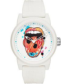 A|X Armani Exchange Men's White Silicone Strap Watch 46mm